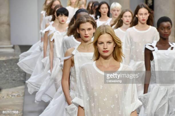 Models walk the runway at the Philosophy di Lorenzo Serafini Spring Summer 2018 fashion show during Milan Fashion Week on September 23 2017 in Milan...