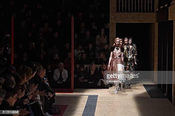 Models walk the runway at the Prada Autumn Winter 2016 fashion show during Milan Fashion Week on February 25 2016 in Milan Italy
