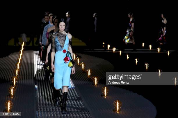 Models walk the runway at the Prada show at Milan Fashion Week Autumn/Winter 2019/20 on February 21, 2019 in Milan, Italy.