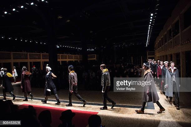 Models walk the runway at the Prada show during Milan Men's Fashion Week Fall/Winter 2016/17 on January 17 2016 in Milan Italy