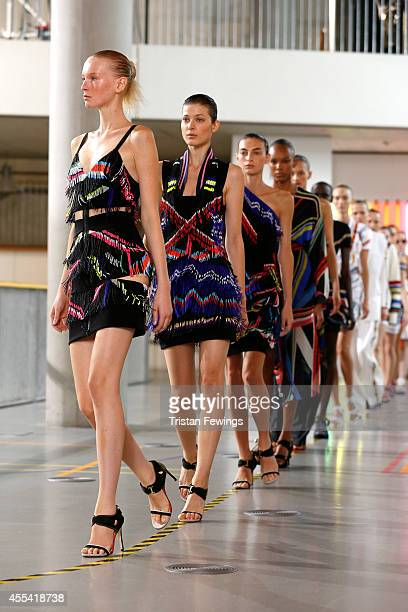 Models walk the runway at the Preen by Thornton Bregazzi show during London Fashion Week Spring Summer 2015 on September 14 2014 in London England