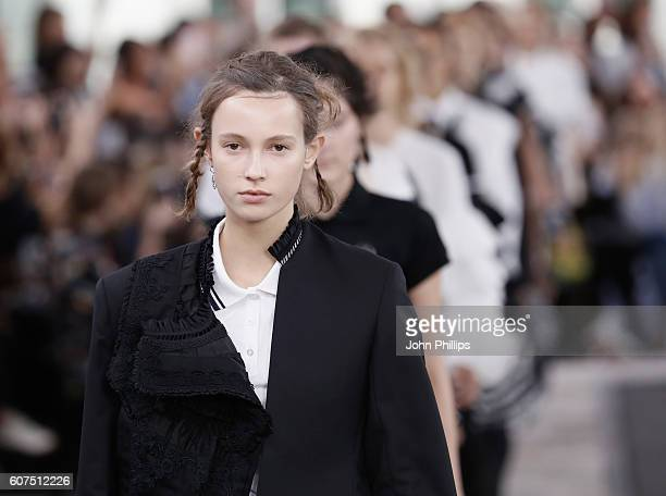 Models walk the runway at the Preen by Thornton Bregazzi show during London Fashion Week Spring/Summer collections 2017 on September 18 2016 in...