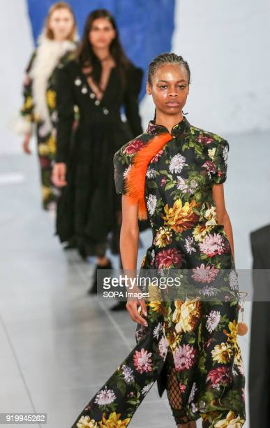 Models walk the runway at the Preen by Thornton Bregazzi show during London Fashion Week February 2018 at BFC Show Space