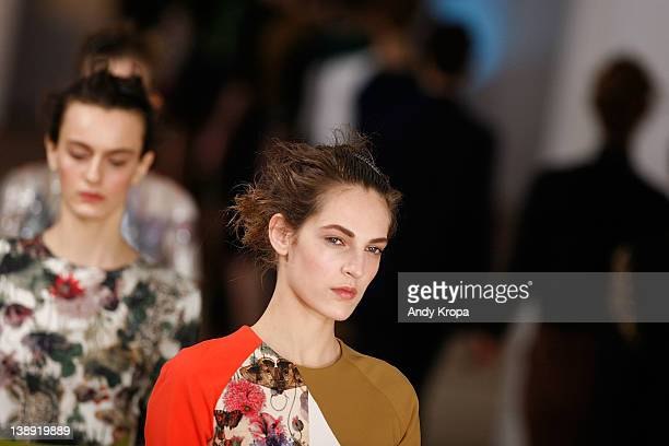 Models walk the runway at the Preen by Thorton Bregazzi fall 2012 fashion show during Mercedes-Benz Fashion Week at the IAC Building on February 13,...