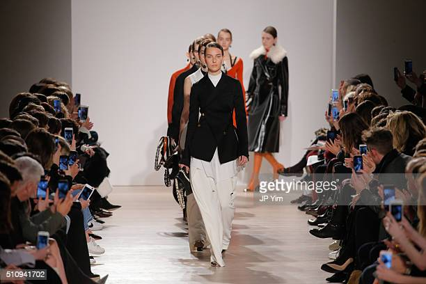 Models walk the runway at the Proenza Schouler Collection during Fall 2016 New York Fashion Week at the Whitney Museum of American Art on February 17...