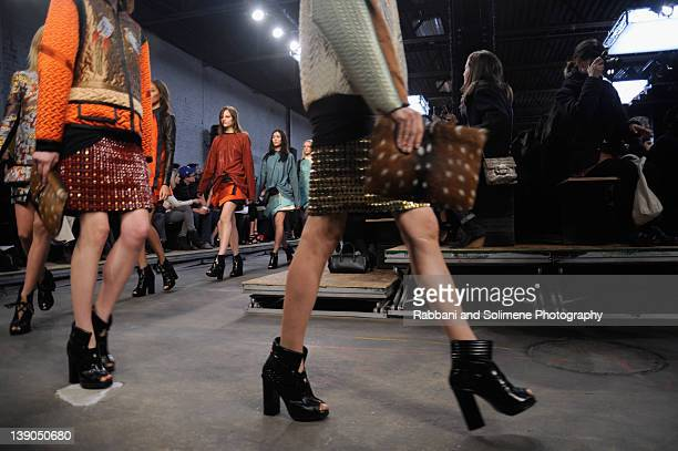 Models walk the runway at the Proenza Schouler Fall 2012 fashion show during MercedesBenz Fashion Week on February 15 2012 in New York City