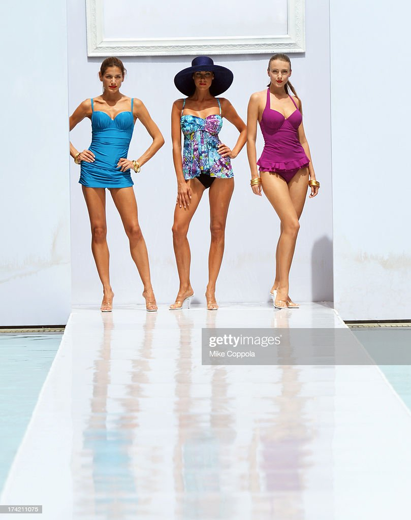 Models walk the runway at the Profile by Gottex show during Mercedes-Benz Fashion Week Swim 2014 at the SLS Hotel on July 21, 2013 in Miami, Florida.