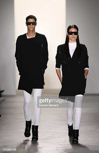 Models walk the runway at the RAD by Rad Hourani Spring 2011 fashion show during MercedesBenz Fashion Week at Milk Studios on September 13 2010 in...