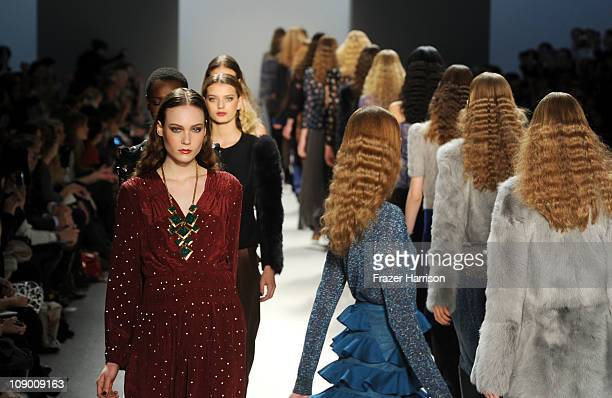 Models walk the runway at the Rebecca Taylor Fall 2011 fashion show during MercedesBenz Fashion Week at The Tent at Lincoln Center on February 11...