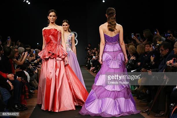 Models walk the runway at the Renato Balestra fashion show during AltaRoma January 2017 on January 28 2017 in Rome Italy