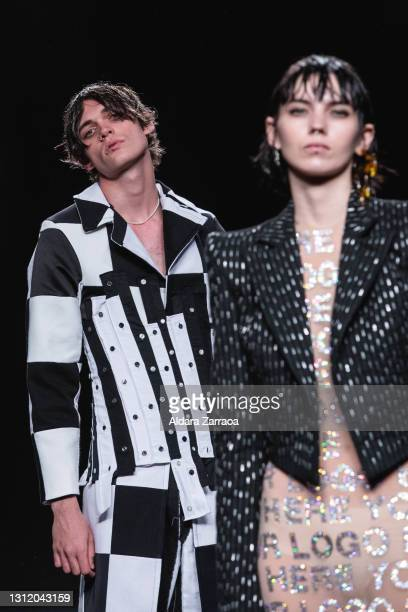 Models walk the runway at the Reparto Studio fashion show during Samsung EGO Mercedes Benz Fashion Week Madrid April 2021 at Ifema on April 11, 2021...
