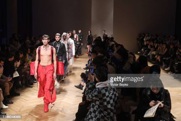 Models walk the runway at the Reshake fashion show on January 13 2020 in Milan Italy