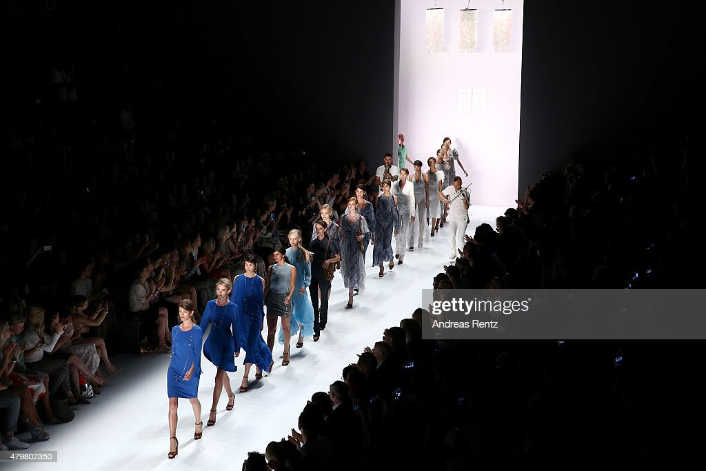 Models walk the runway at the Riani show during the Mercedes-Benz Fashion Week Berlin Spring/Summer 2016 at Brandenburg Gate on July 7, 2015 in Berlin, Germany.