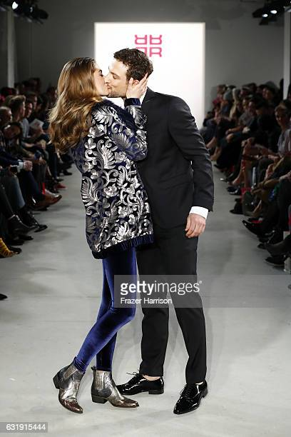 Models walk the runway at the Riani show during the MercedesBenz Fashion Week Berlin A/W 2017 at Kaufhaus Jandorf on January 17 2017 in Berlin Germany