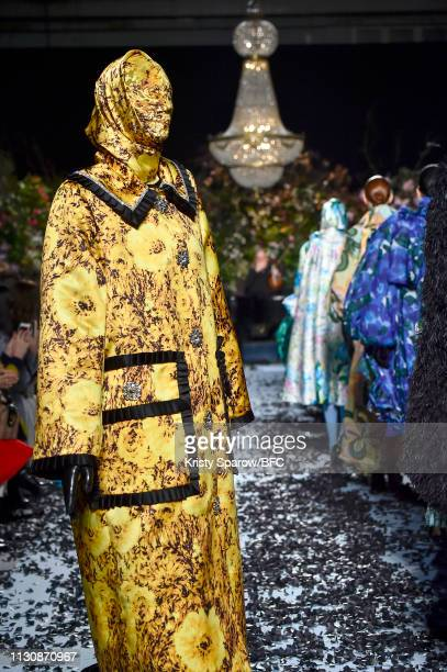 Models walk the runway at the Richard Quinn show during London Fashion Week February 2019 at Ambika P3 on February 19, 2019 in London, England.