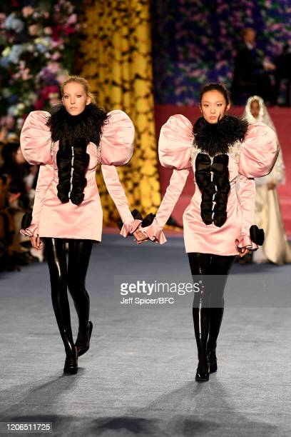 Models walk the runway at the Richard Quinn show during London Fashion Week February 2020 on February 15, 2020 in London, England.