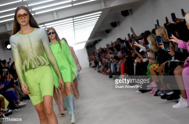 Models walk the runway at the Roberta Einer show during London Fashion Week September 2019 at the BFC Show Space on September 13, 2019 in London,...