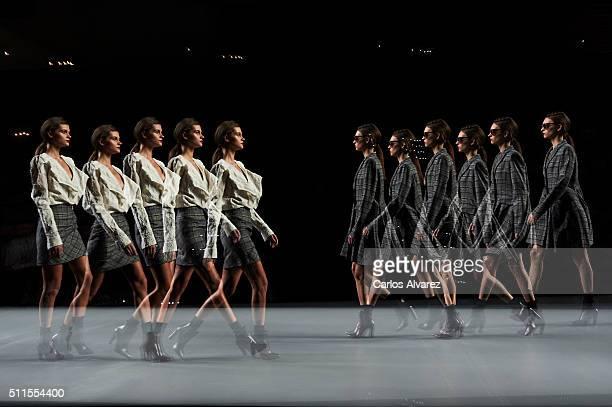 Models walk the runway at the Roberto Torretta show during the MercedesBenz Madrid Fashion Week Autumn/Winter 2016/2017 at Ifema on February 21 2016...