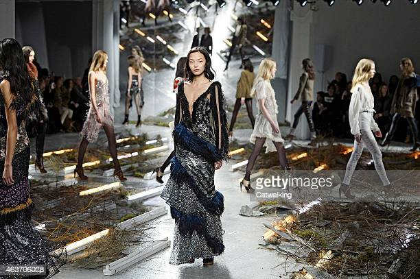 Models walk the runway at the Rodarte Autumn Winter 2015 fashion show during New York Fashion Week on February 17, 2015 in New York, United States.