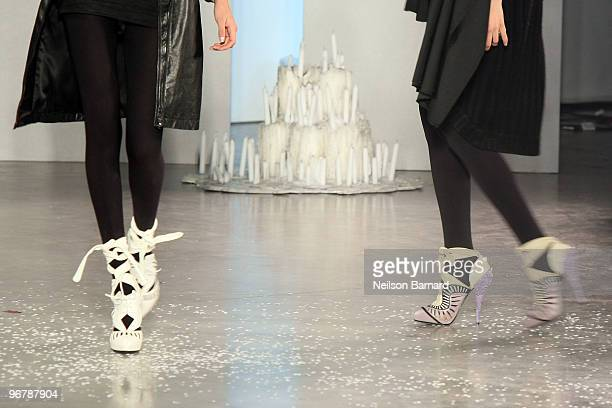 Models walk the runway at the Rodarte Fall 2010 Fashion Show during MercedesBenz Fashion Week at 522 West 21st Street on February 16 2010 in New York...