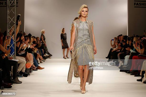 Models walk the runway at the Rohmir show at Fashion Scout during London Fashion Week Spring/Summer 2016/17 on September 19 2015 in London England