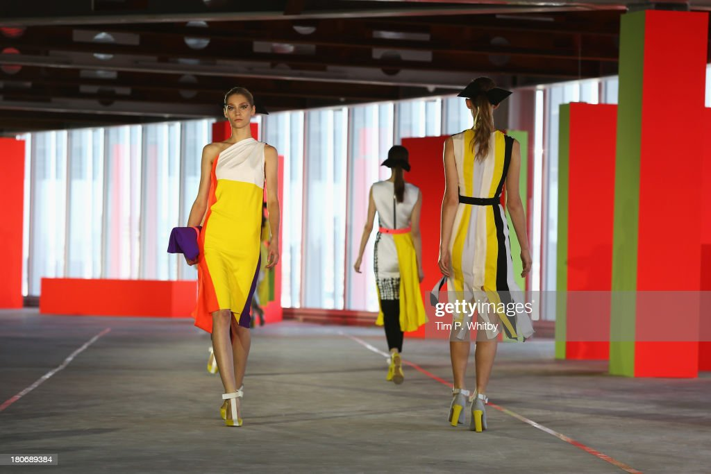 Models walk the runway at the Roksanda Ilincic show during London Fashion Week SS14 at The Place on September 16, 2013 in London, England.
