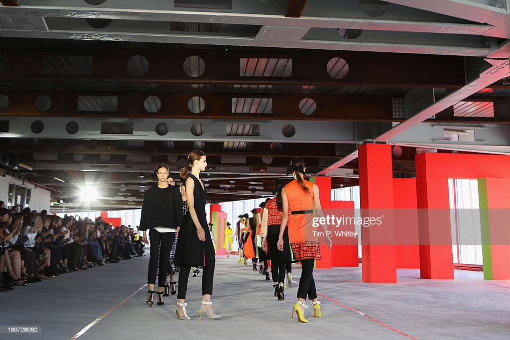 Models walk the runway at the Roksanda Ilincic show during London Fashion Week SS14 at TopShop Show Space on September 16, 2013 in London, England.
