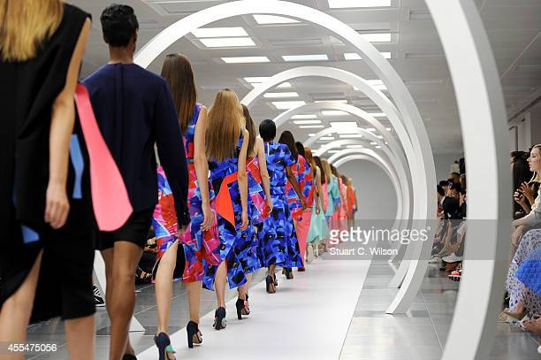 Models walk the runway at the Roksanda Ilincic show during London Fashion Week Spring Summer 2015 on September 15 2014 in London England