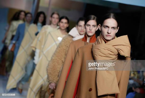 Models walk the runway at the Roksanda show during London Fashion Week February 2018 at Eccleston Place on February 19 2018 in London England