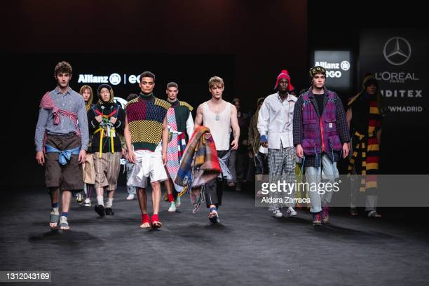 Models walk the runway at the Rubearth fashion show during Samsung EGO Mercedes Benz Fashion Week Madrid April 2021 at Ifema on April 11, 2021 in...