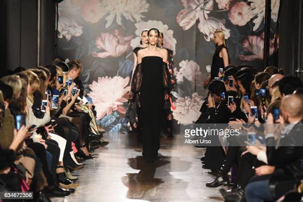Models walk the runway at the Sachin & Babi fashion show during New York Fashion Week at The National Arts Club on February 10, 2017 in New York City.