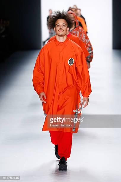 Models walk the runway at the Sadak show during the MercedesBenz Fashion Week Berlin Autumn/Winter 2015/16 at Brandenburg Gate on January 19 2015 in...