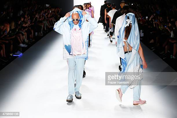 Models walk the runway at the Sadak show during the MercedesBenz Fashion Week Berlin Spring/Summer 2016 at Brandenburg Gate on July 8 2015 in Berlin...