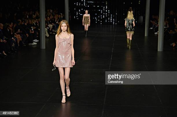 Models walk the runway at the Saint Laurent Spring Summer 2016 fashion show during Paris Fashion Week on October 5 2015 in Paris France