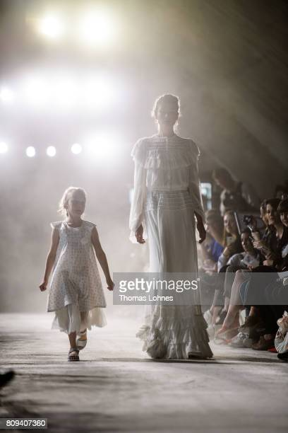 Models walk the runway at the Salonshow Greenshowroom during the MercedesBenz Fashion Week Berlin Spring/Summer 2018 at Funkhaus Berlin on July 5...