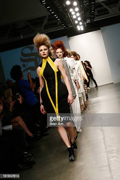 Models walk the runway at the Samantha Cole London show during Nolcha Fashion Week New York 2013 presented by RUSK at Pier 59 Studios on February 13...