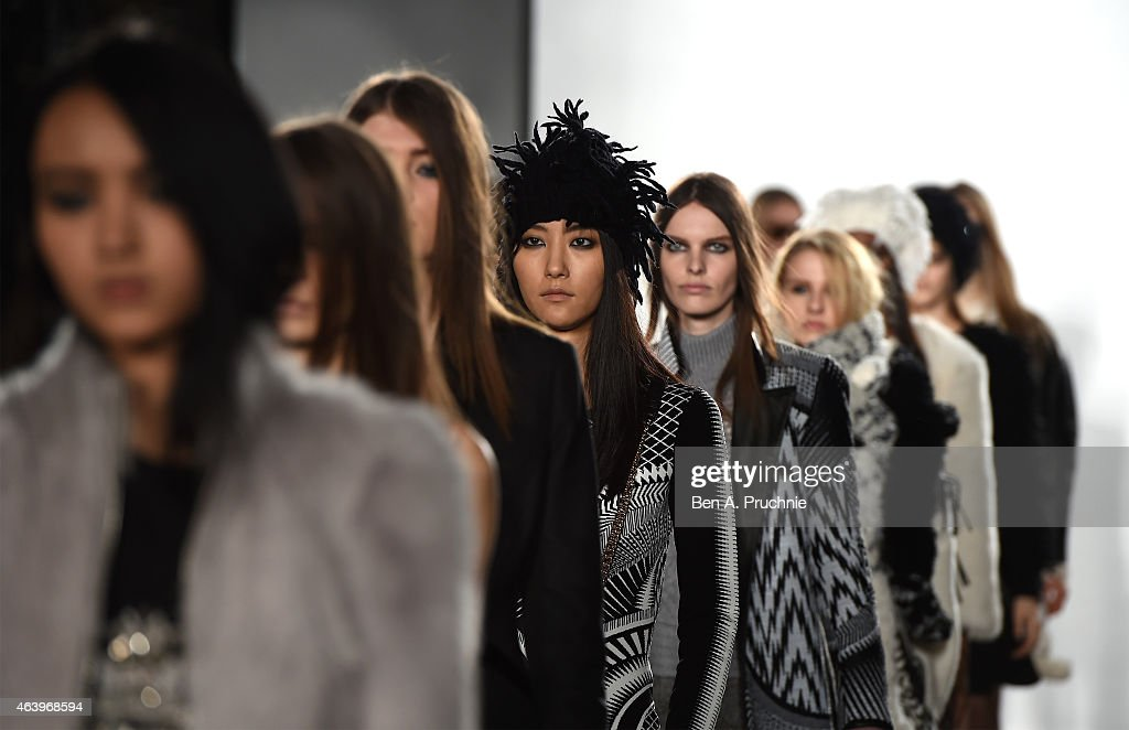 Models walk the runway at the sass & bide show during London Fashion Week Fall/Winter 2015/16 at Australia House on February 20, 2015 in London, England.