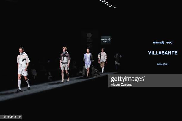 Models walk the runway at the Sergio Villasante fashion show during Samsung EGO Mercedes Benz Fashion Week Madrid April 2021 at Ifema on April 11,...