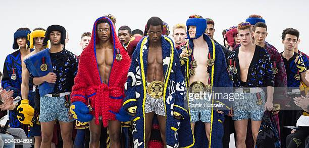 Models walk the runway at the SIBLING show during The London Collections Men AW16 at Victoria House on January 9, 2016 in London, England.