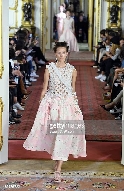 Models walk the runway at the Simone Rocha show during London Fashion Week Spring/Summer 2016/17 on September 19, 2015 in London, England.