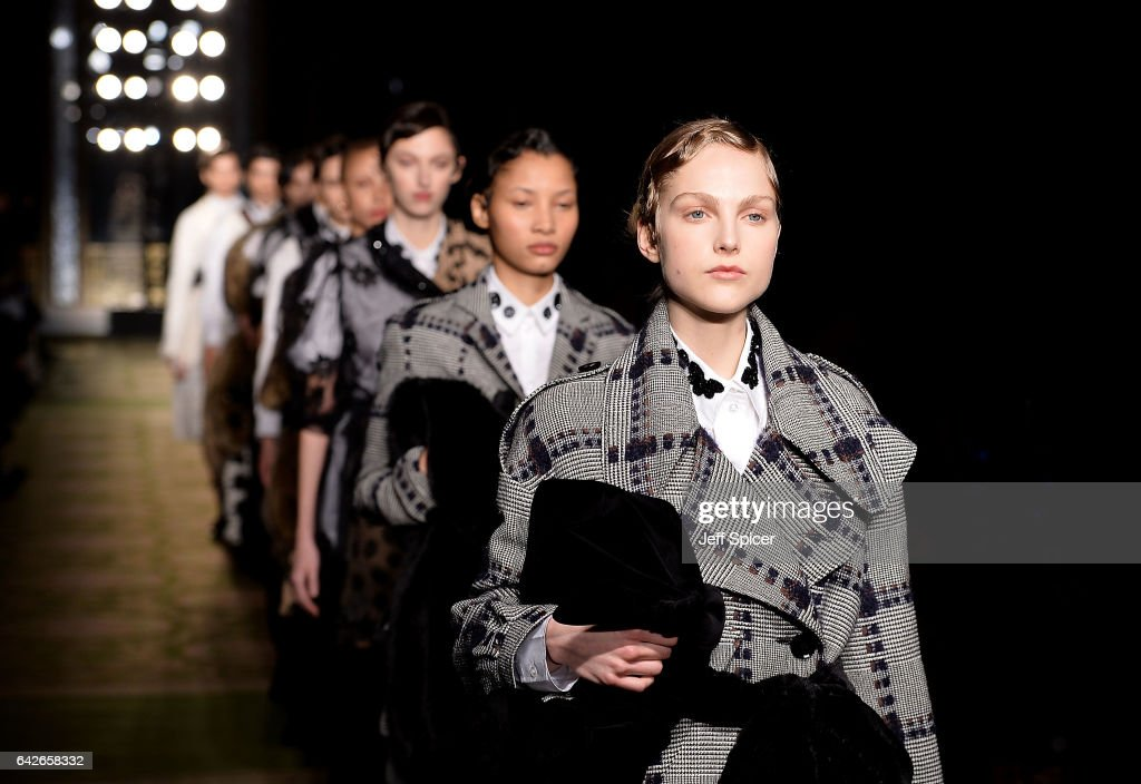 Models walk the runway at the Simone Rocha show during the London Fashion Week February 2017 collections on February 18, 2017 in London, England.