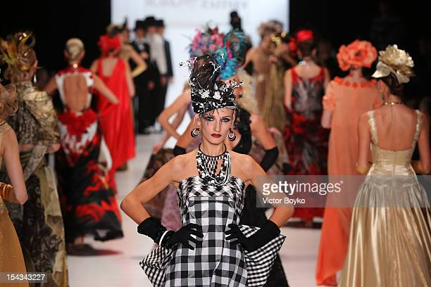 Models walk the runway at the Slava Zaitsev Spring/Summer 2013 show on day 1 of MercedesBenz Fashion Week Russia Spring/Summer 2013 at Manege on...