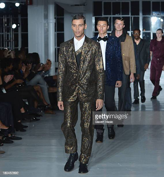 Models walk the runway at the St Wobil fashion show during MercedesBenz Fashion Week Spring 2014 at The Designer's Loft at Studio 450 on September 12...