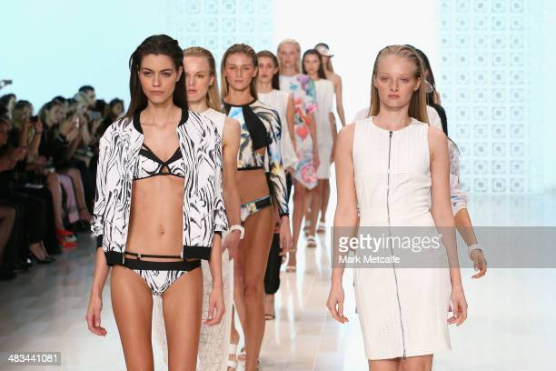 Models walk the runway at the Suboo show during MercedesBenz Fashion Week Australia 2014 at Carriageworks on April 9 2014 in Sydney Australia