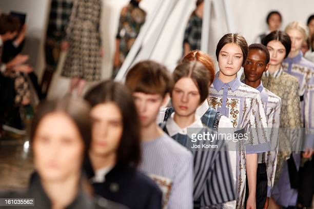 Models walk the runway at the Suno fall 2013 fashion show during MADE Fashion Week at Milk Studios on February 8 2013 in New York City