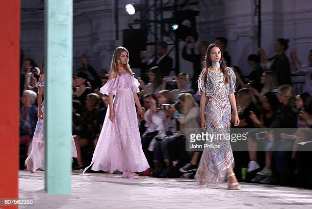Models walk the runway at the Temperley London show during London Fashion Week Spring/Summer collections 2017 on September 18 2016 in London United...