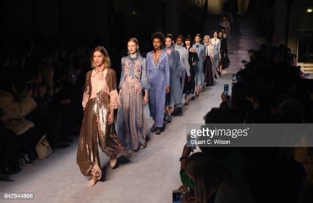 Models walk the runway at the Temperley London show during London Fashion Week February 2017 collections on February 19, 2017 in London, England.