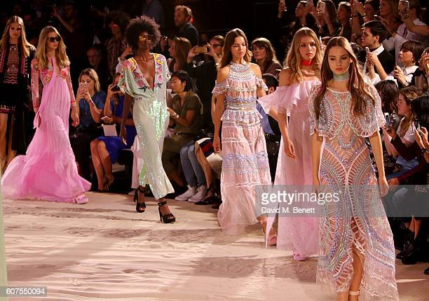 Models walk the runway at the Temperley London x Vero SS17 Fashion Show at The Lindley Hall on September 18 2016 in London England