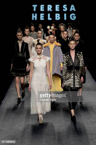 Models walk the runway at the Teresa Helbig show during the MercedesBenz Fashion Week Madrid Autumn/Winter 201819 at Ifema on January 27 2018 in...