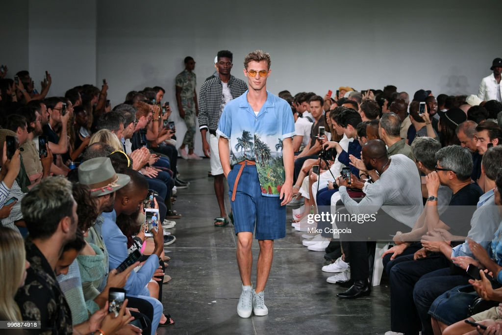 Models walk the runway at the Todd Snyder show - Runway - July 2018 New York City Men's Fashion Week at Industria Studios on July 11, 2018 in New York City.